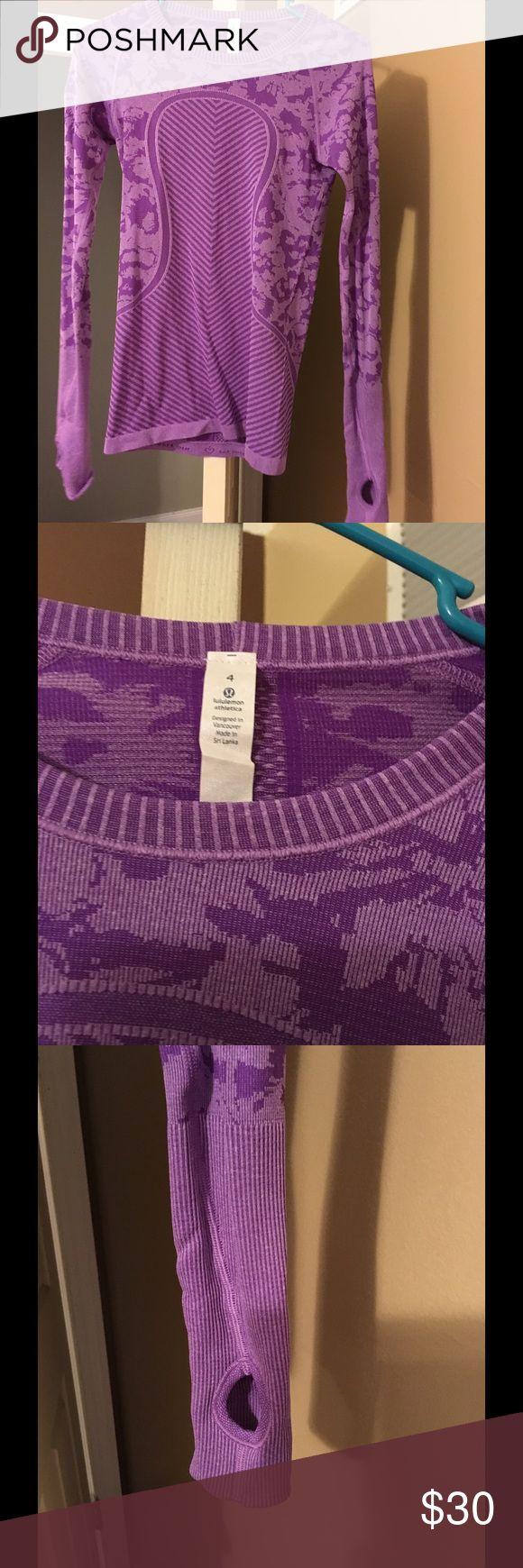 Lululemon 4 purple long sleeve tee LuluLemon 4 purple run swiftly long sleeve tee w/ thumb holes, GUC lululemon athletica Tops Tees - Long Sleeve