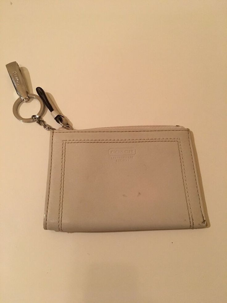 Details about Coach Off White Silver Leather Key-Chain Mini Coin Purse/credit card holder Clip