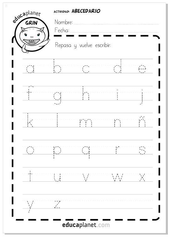 Fichas y actividades gratis para imprimir y aprender a escribir las letras del abecedario en minúsculas.
