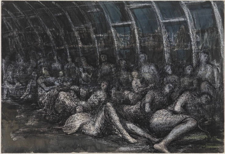 Henry Moore OM, CH  Shelterers in the Tube 1941  Pencil, pen and ink, watercolour and crayon on paper  support: 380 x 568 mm frame: 650 x 817 x 35 mm  Presented by the War Artists Advisory Committee 1946