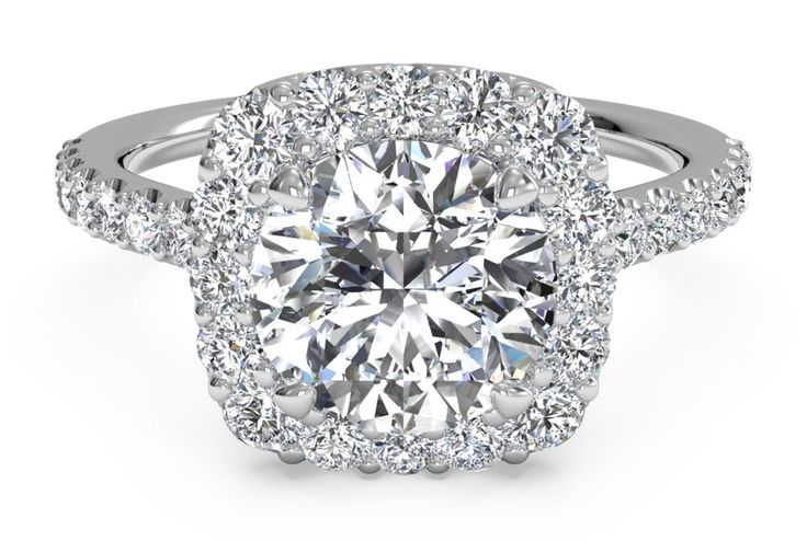 The Top 10 Most Popular Engagement Rings of 2015: #1. French-set cushion-shaped halo engagement ring