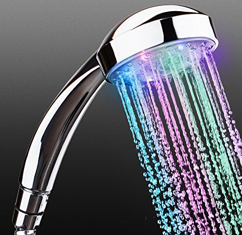 RICHYN ?? - LED Shower Head - Best 7 Color Changing LED Hand Held Rain Shower Head - Loved Equally By Kids and Adults - Home Basics Shower Head - Lights Up when Water Flows - Seven Flashing Colors *** You can get additional details at the image link.
