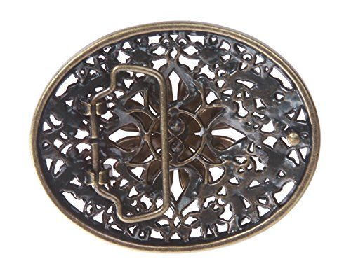 Perforated Oval Topaz Rhinestone Flower Belt Buckle Made by #beltiscool Color #Topaz. Oval Buckle with topaz color rhinestone;. Antique Copper Color. Dimension (Length X Width): 3 1/2'' X 2 3/4'';. Fits Belt of Width: 1 1/2''
