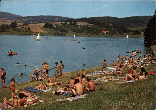 Sunbathing by the Lake Luhacovice Czech Republic Eastern Europe