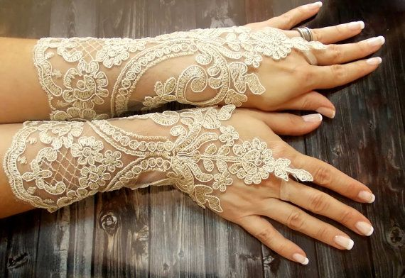 Long Wedding gloves Champagne bridal gloves by DoveGlove on Etsy