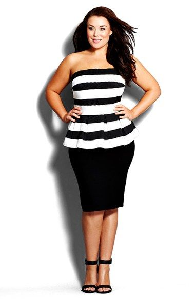 City Chic Stripe Strapless Peplum Dress (Plus Size) available at #Nordstrom: