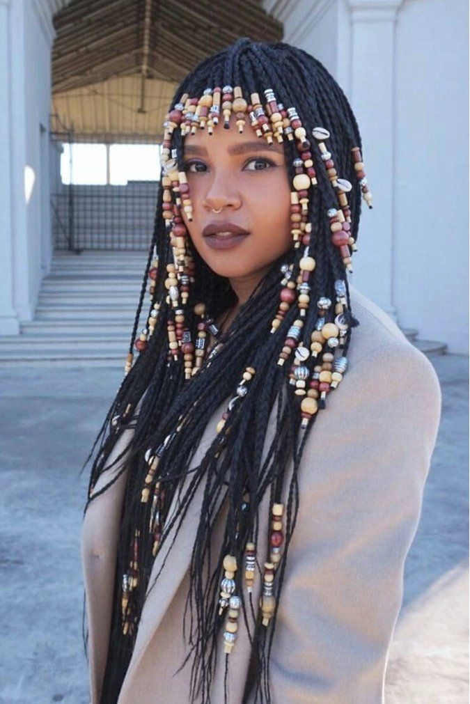beaded braid hairstyles