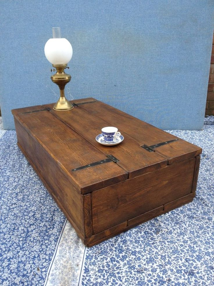 ♥ Vintage 4ft Rustic Reclaimed Old Pine Dining Plank Top Coffee Table Chest ♥