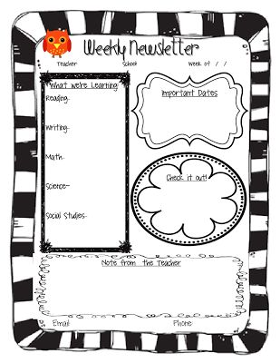 Task 7: This is a weekly newsletter template that can be sent home with students to bring home to their families so that they are kept in the loop. I love this idea because it is a simple way to let parents know what is going on in the classroom and maybe what they need to be working on at home with their student.