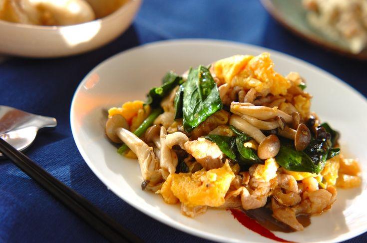オイスターソースでしっかりと味を付けた、ご飯がすすむ炒め物です。豚肉とキノコの卵炒め/保田 美幸のレシピ。[中華/炒めもの]2016.01.25公開のレシピです。