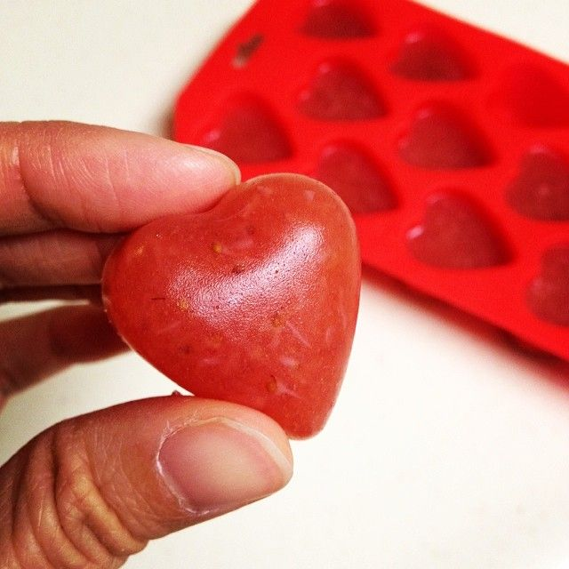 Homemade Fruit Snacks: Ingredients I used: 1 cup strawberries 1/4 cup water 1/2 cup applesauce 1/2 cup white grape juice 2 envelopes gelatin Recipe Here: http://alldayidreamaboutfood.com/2011/09/homemade-gummy-fruit-snacks-healthy-snacks-for-kids.html Get the heart-shaped Ice Tray Here: http://www.amazon.com/gp/product/B007RPOIJA/ref=as_li_qf_sp_asin_tl?ie=UTF8&camp=211189&creative=373489&creativeASIN=B007RPOIJA&link_code=as3&tag=liv0304-20