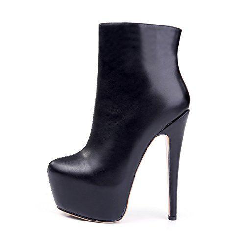 Onlymaker Damen Pumps Stiefel High Heel Fashion Ankle Boots mit Rei?verschluss Plateau Schwarz EU40 - http://on-line-kaufen.de/onlymaker/40-eu-onlymaker-damen-pumps-stiletto-stiefel-high-3