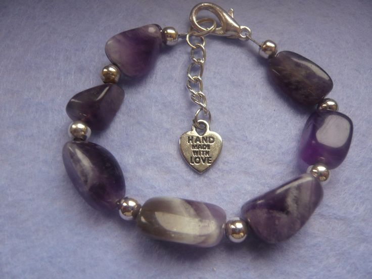 Amythst Bracelet with 'handmade with love' heart tag and chain to extend length.