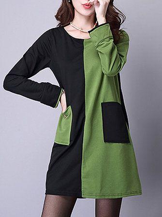 Vintage Women Patchwork Long Sleeve O-Neck Pocket Dress at Banggood