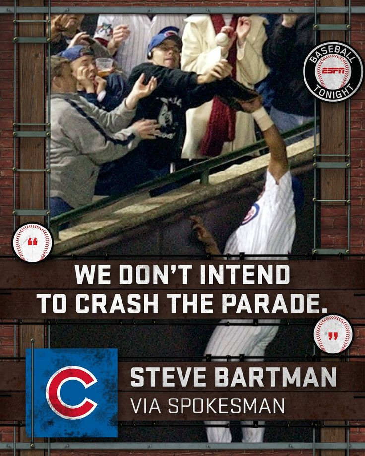 """Steve Bartman is """"overjoyed that the Cubs won.""""   Just don't expect to see him at today's celebration.  MORE: es.pn/2fpaSn5"""