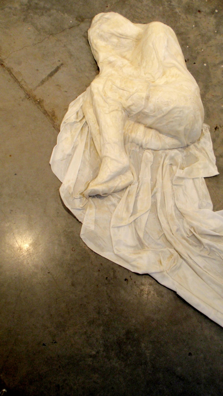 """""""Wake me when it's over"""" Another sculpture from my bodily metaphors class. Plaster cast, fabric, wax.     Amanda Dowdal"""