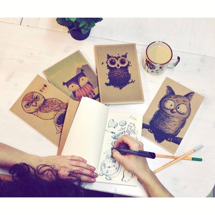 Morning routine ☕️ #szputnyikshop #szputnyik #budapest #owl #graphic #notebook #selection #morning #cafe #drawing #birds #wiseowl #booklet #creative #instores and #online