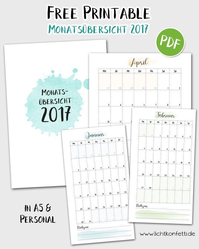 Ein zarte, bunte Monatsübersicht für 2017 als FREE printable! :)