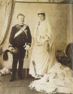 22 May 1886 - Prince Royal of Portugal Carlos and the Princess of Orleans Amélie wedding day. They are future King Carlos I and Queen Amélie of Portugal and Algarves.