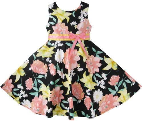 Girls Dress Pink Yellow Flower Party Child Clothes Size 7-14 NWT