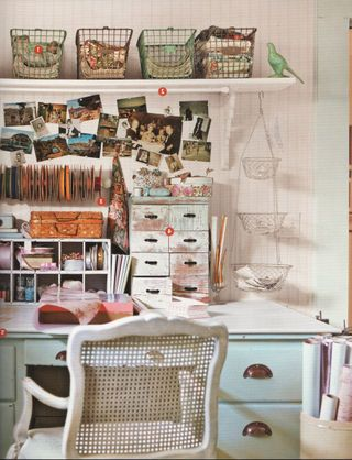 Lovely organization. Lots of different storage ideas employed here.