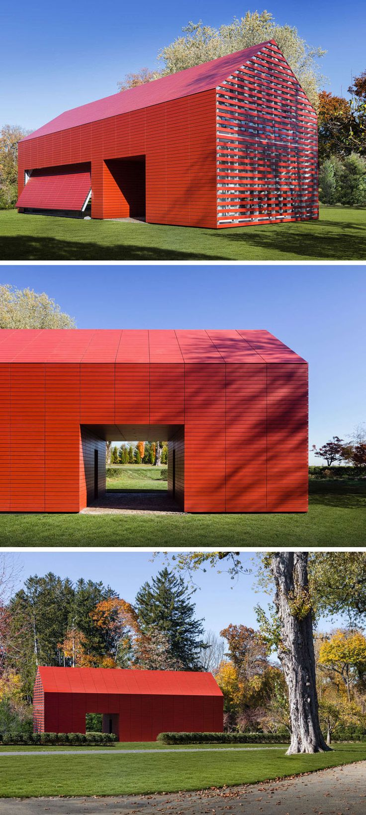 11 Red Houses And Buildings That Aren't Afraid To Make A Statement | This red house has both a living space on the second floor and a studio/workshop on the first floor.