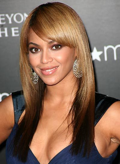 front bang hairstyle with straight hair | Beyonce Knowles' sleek and shiny strands can make you look polished ...