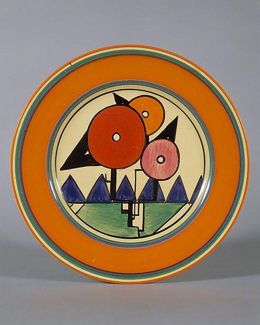 Plate by Clarice Cliff (British, 1899–1972) | Manufacturer: Workshop of A. J. Wilkinson, Ltd. (British) Date: 1930 | Medium: Earthenware Dimensions: Diam. 10 inches