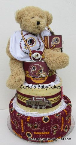 Washington Redskins themed diaper cake