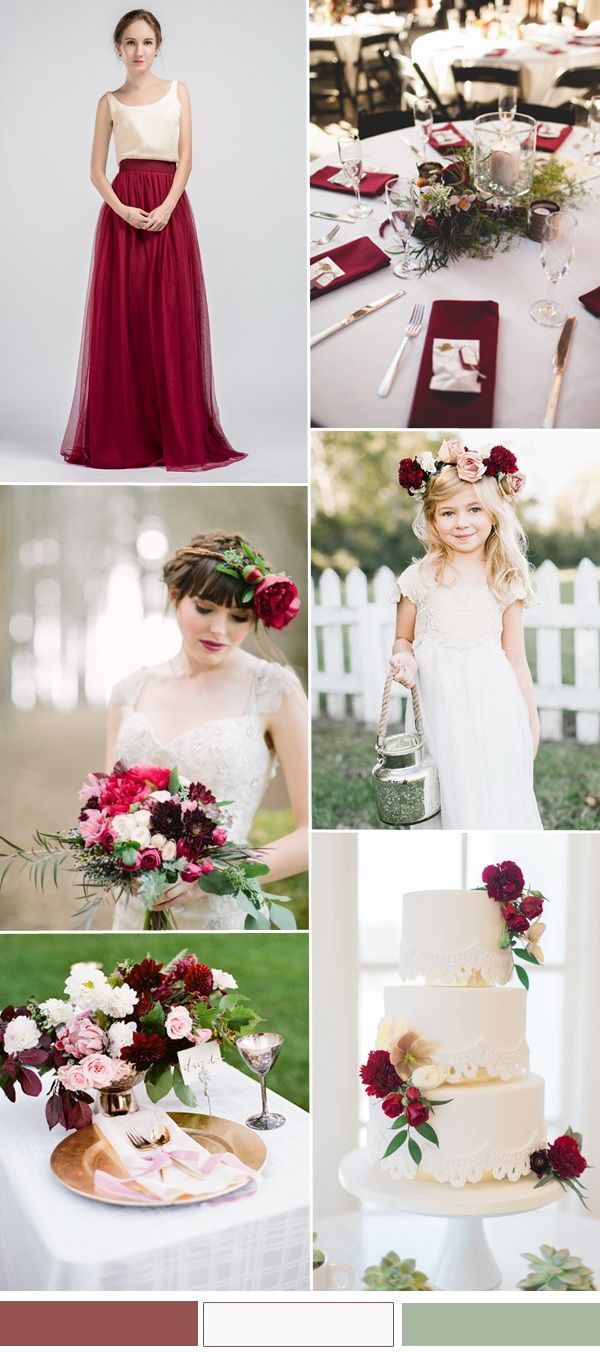 marsala and ivory wedding color ideas with tulle two tone bridesmaid dress