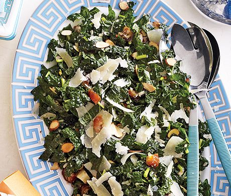 Kale Salad with Dates, Parmesan and Almonds Recipe at Epicurious.com- for phase 2 of virgin diet or leave out parmesan for phase 1- got great reviews!