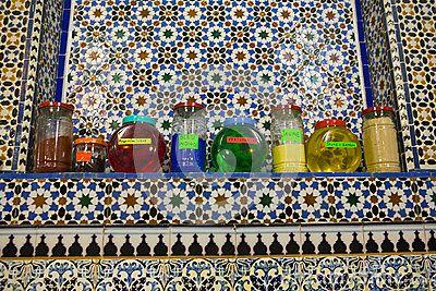 Jars of perfume for sale at Tetouan souk
