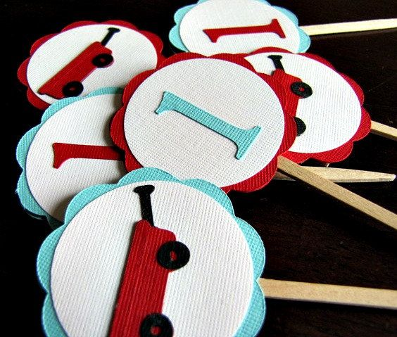 Little Red Wagon Party Cupcake Toppers  Set of by ScrapYourStory