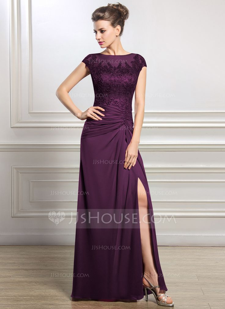 Sheath/Column Scoop Neck Floor-Length Chiffon Tulle Mother of the Bride Dress With Ruffle Beading Appliques Lace Sequins Split Front (008056834) - JJsHouse