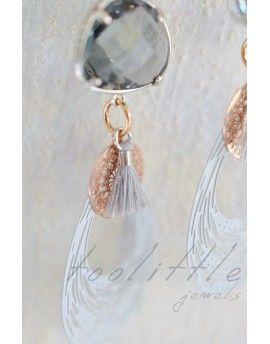 Σκουλαρίκια Grey Crystals & Tassels