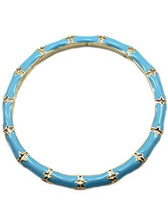 Kenneth Jay Lane Silver & Turquoise Blue Enamel Bamboo Bangle ❤ Kenneth Jay Lane