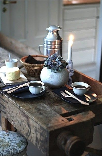 narrow table romance  Love The work bench~ I'm looking for that for my kitchen work station/island