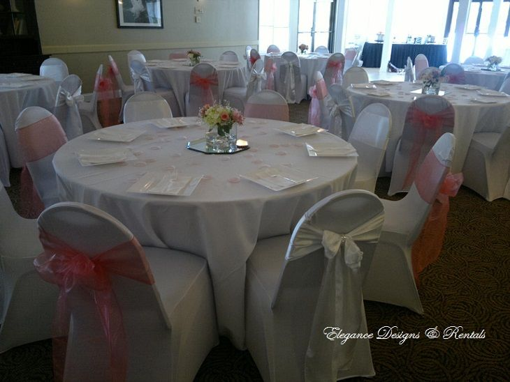 Murray Hall Huntsville Botanical Gardens In White And Coral With Spandex Chair Covers And Floor