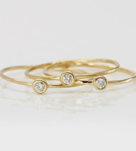White Diamond & Gold Stacking Ring by Melanie Casey on Scoutmob Shoppe