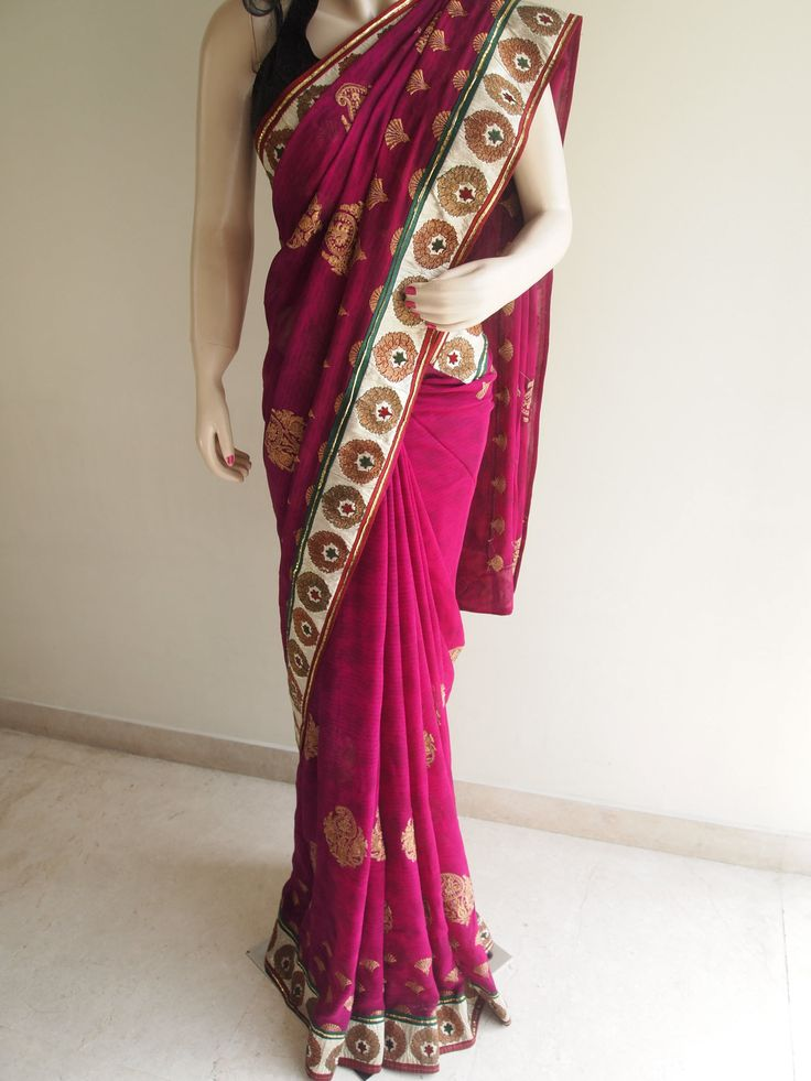 Magenta Pure Georgette Saree With Border