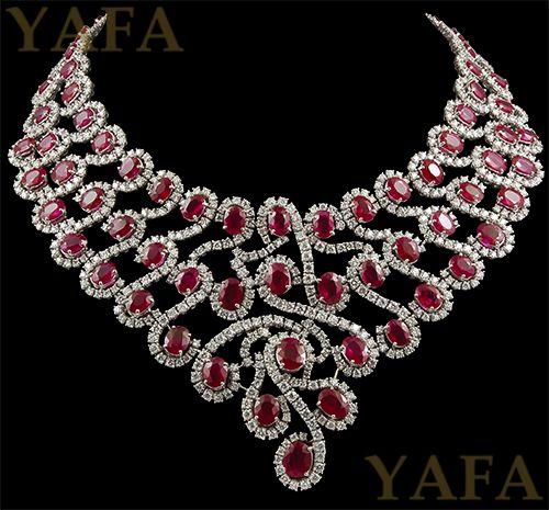 18k Gold Diamond And Ruby Necklace Yafa Jewelry