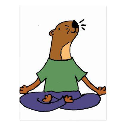 Cute Sea Otter Practicing Yoga Cartoon Postcard - practice unique personalize diy