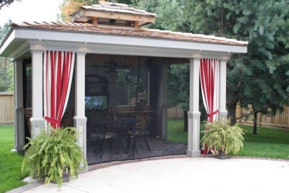 Mosquito Netting And Pretty Curtains Under Deck And Around