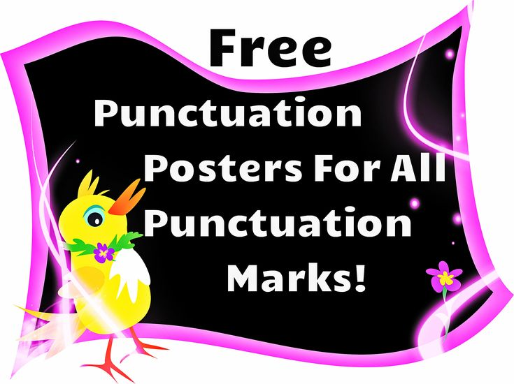 Free! This is a set of ten colorful posters of different punctuation marks. Along with the pictures of the punctuation marks, the posters also explain how the punctuation marks are used. All posters are in word.doc and can be downloaded for free!