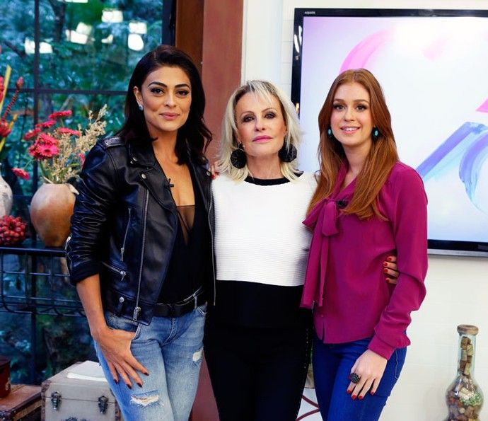 Juliana Paes e Marina Ruy Barbosa com Ana Maria no Mais Você (Foto: Ellen Soares/Gshow)