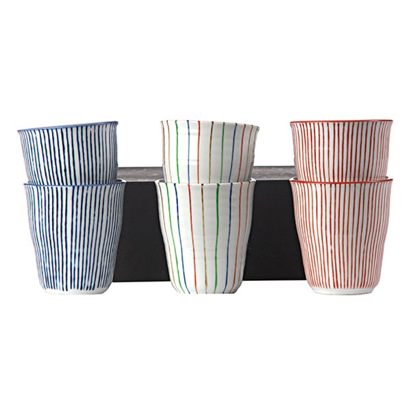 Set of 6 cups stripes from Pols Potten. Made of porcelain, decorated with different stripes.