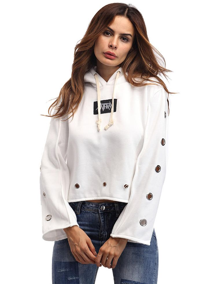 Casual Hooded Long Sleeve Pullover Sweatshirt with Metal Ring For Women at Banggood