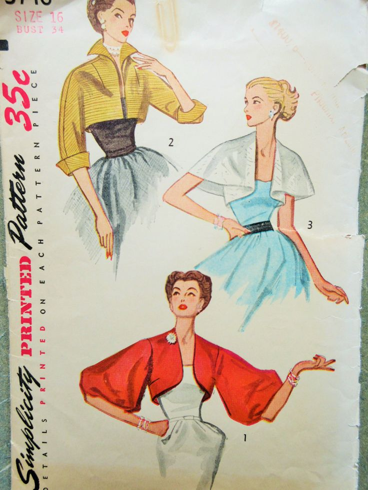 Vintage Simplicity 3746 Sewing Pattern, 1950s Jackets, Boleros, Capelet, 1950s Sewing Pattern, Bust 34, Balloon Sleeves, Vintage Sewing by sewbettyanddot on Etsy