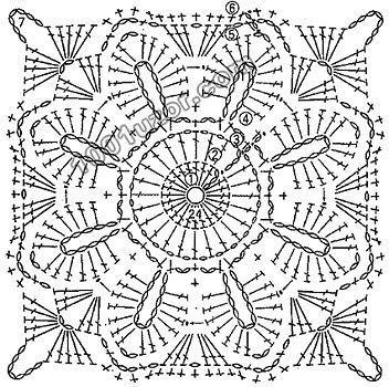 Crochet lace square motif ~~ 402750595257 (352x350, 55Kb)