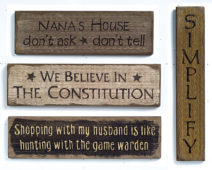 Rustic Wood Signs from Hare Hollow. http://www.harehollowcountry.com/cgi-bin/shop/Primitive_Signs.htm. See more country products in the May issue of Country Sampler: https://www.samplermagazines.com/detail.html?prod_id=159&source=pin